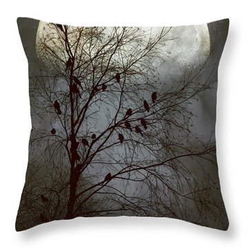 Throw Pillow featuring the photograph Black Birds Singing In The Dead Of Night by John Rivera