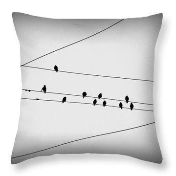 Black Birds Waiting Throw Pillow