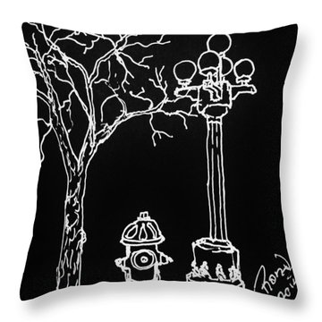 Throw Pillow featuring the drawing Black Book 08 by Rand Swift