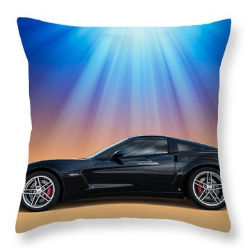 Black C6 Throw Pillow