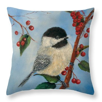 Black Capped Chickadee And Winterberries Throw Pillow by Loretta Luglio