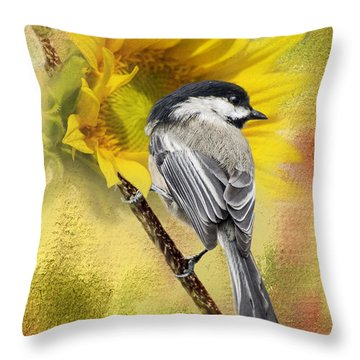 Black Capped Chickadee Checking Out The Sunflowers Throw Pillow