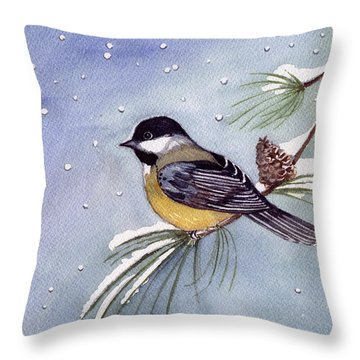 Black-capped Chickadee Throw Pillow by Katherine Miller