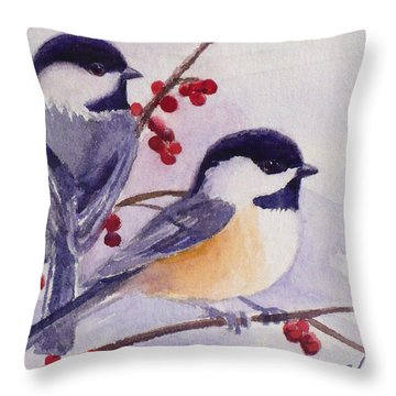 Black-capped Chickadees Throw Pillow