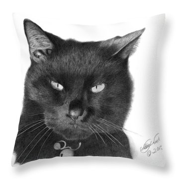 Black Cat - 008 Throw Pillow by Abbey Noelle