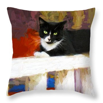 Black Cat In Color Series 2 Throw Pillow