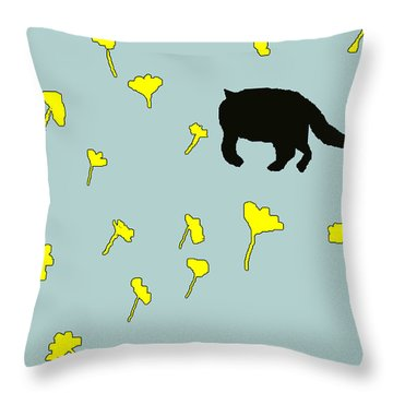 Throw Pillow featuring the painting Black Cat In Spring by Anita Dale Livaditis