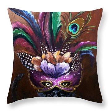 Black Cat With Venetian Mask Throw Pillow
