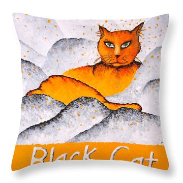 Black Cat Yellow Throw Pillow by Michelle Boudreaux