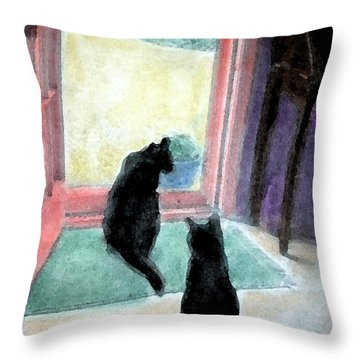 Black Cats Throw Pillow by Art by Kar