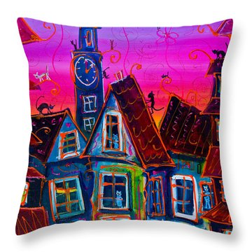 Black Cats Invasion Throw Pillow