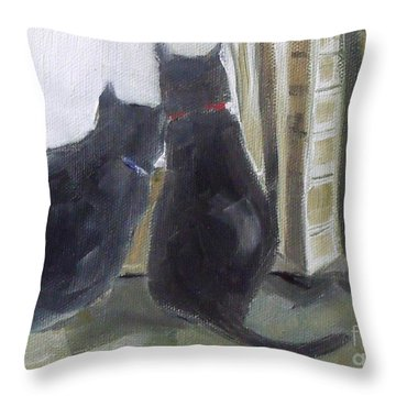 Black Cats  Throw Pillow by Mary Hubley