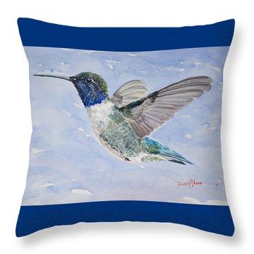 Da194 Black Chinned Hummingbird By Daniel Adams Throw Pillow