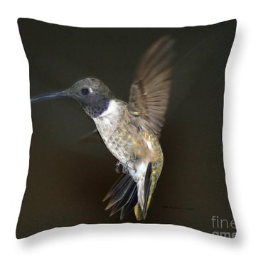 Throw Pillow featuring the photograph Black Chinned Hummingbird by Debby Pueschel