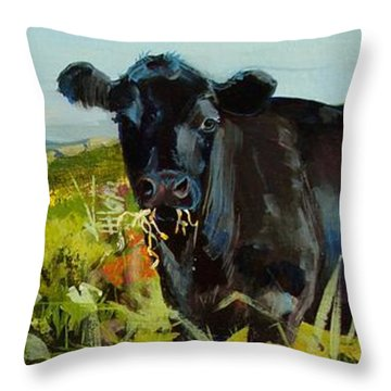 Black Cow Dartmoor Throw Pillow