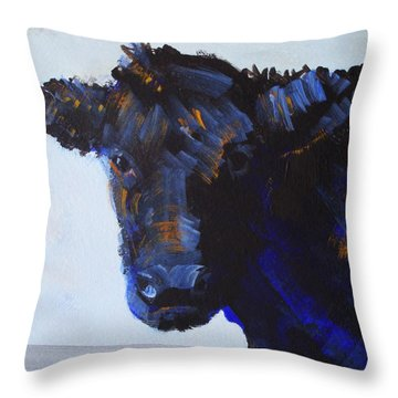 Black Cow Head Throw Pillow