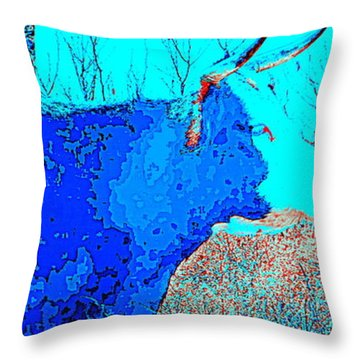 Black Cow In Blue Throw Pillow