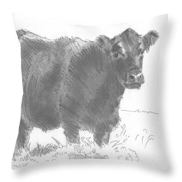 Black Cow Pencil Sketch Throw Pillow