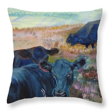 Black Cows On Dartmoor Throw Pillow