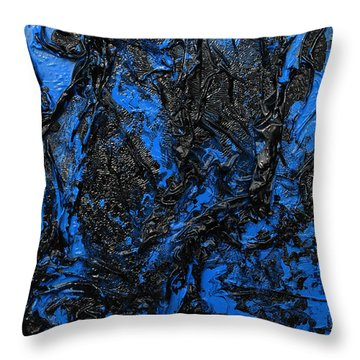 Black Cracks With Blue Throw Pillow