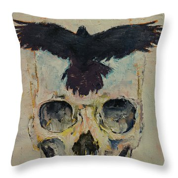 Black Crow Throw Pillow by Michael Creese