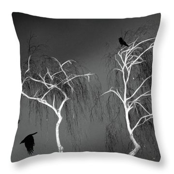 Black Crows - White Trees  Throw Pillow