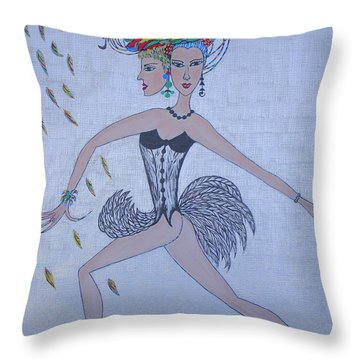 Throw Pillow featuring the painting Black Dahlia by Marie Schwarzer