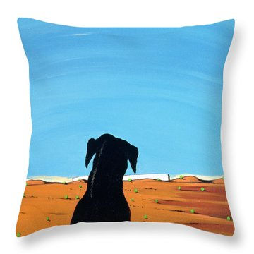 Black Dog In Chestertown, 1998 Throw Pillow