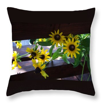 Throw Pillow featuring the photograph Black-eyed Susans by Ellen Tully
