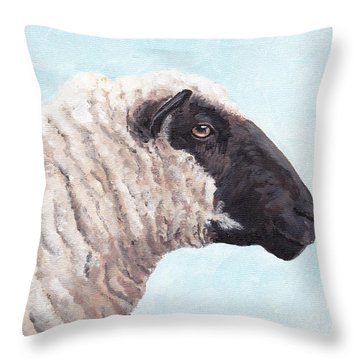 Black Face Sheep Throw Pillow by Charlotte Yealey