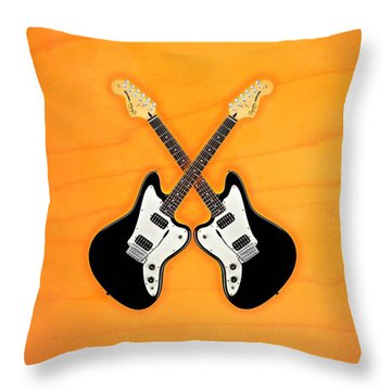 Black Fender Jaguar  Guitar Throw Pillow by Doron Mafdoos
