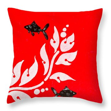 Black Fish Left Throw Pillow