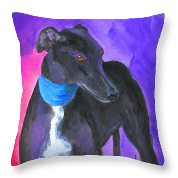 Black Greyhound Watercolor Throw Pillow by Mary Jo Zorad