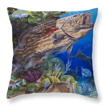 Black Grouper Hole Throw Pillow by Carey Chen