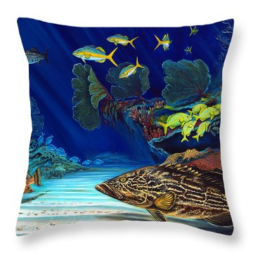 Black Grouper Reef Throw Pillow