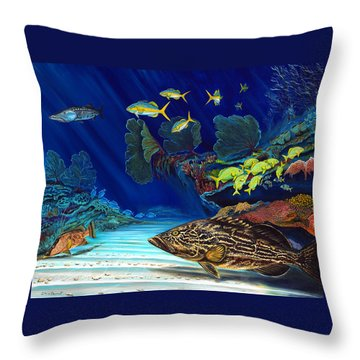 Black Grouper Reef Throw Pillow