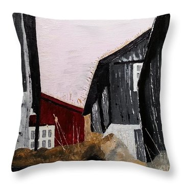 Black Houses Throw Pillow
