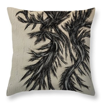 Throw Pillow featuring the painting Black Ice Dragon Painting- by Renee Anderson
