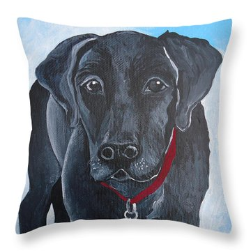 Black Lab Throw Pillow by Leslie Manley