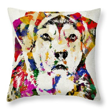 Black Lab Watercolor Art Throw Pillow by Christina Rollo