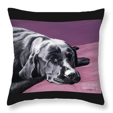 Black Labrador Beauty Sleep Throw Pillow by Amy Reges