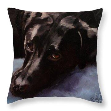 Black Labrador - Custom Pet Portrait Throw Pillow