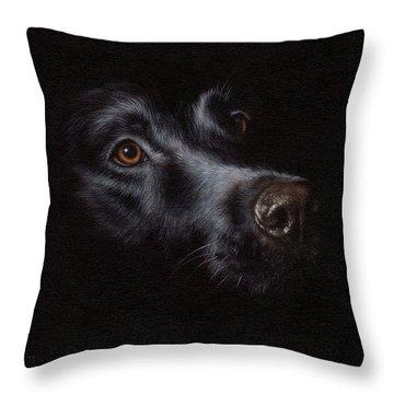 Black Labrador Painting Throw Pillow