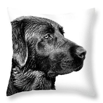 Black Labrador Retriever Dog Monochrome Throw Pillow by Jennie Marie Schell