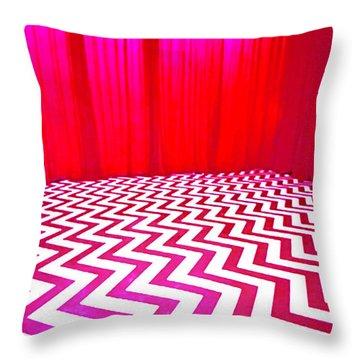 Black Lodge Magenta Throw Pillow