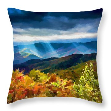 Black Mountains Overlook On The Blue Ridge Parkway Throw Pillow
