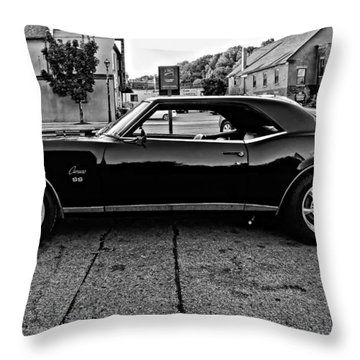 Black Muscle Monochrome Throw Pillow by Steve Harrington