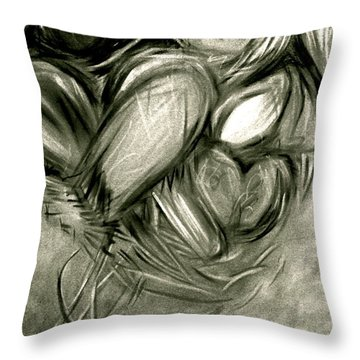 Black N' White-hearts Soar-thinking Of You Throw Pillow by Juliann Sweet