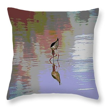 Black Neck Stilt Out In The Pond Throw Pillow by Tom Janca