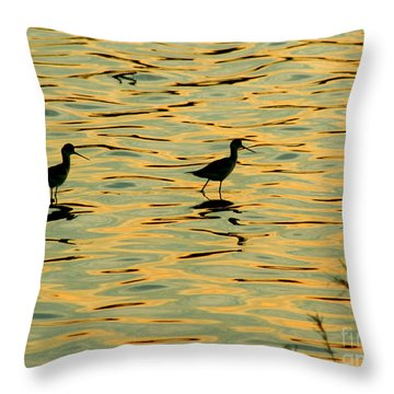 Throw Pillow featuring the photograph Black-necked Stilts At Sunset by Bob and Jan Shriner